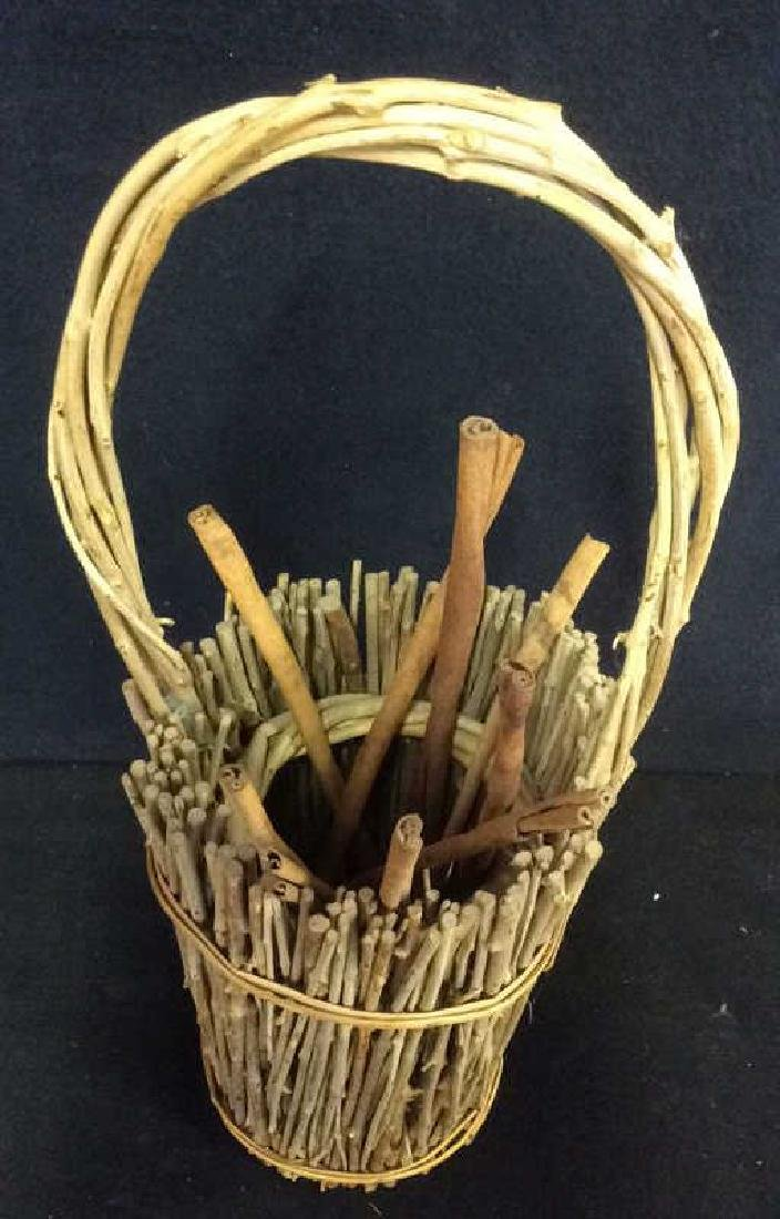 Handled Wood & Wicker Display Basket - 2
