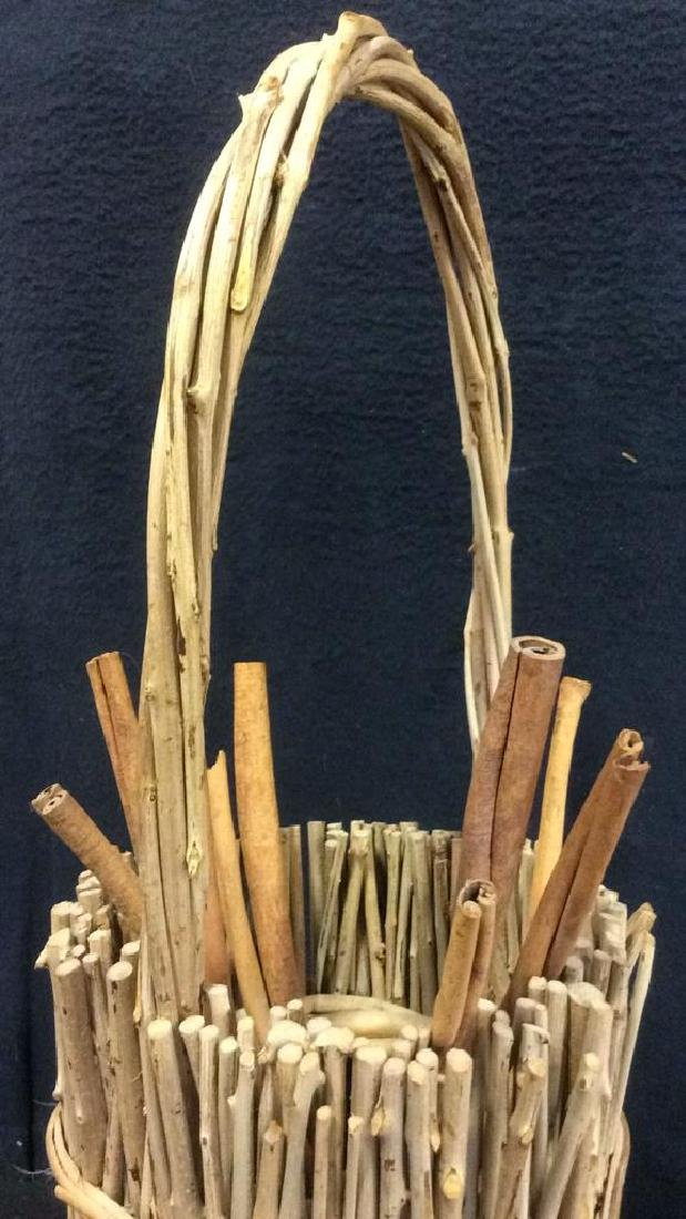 Handled Wood & Wicker Display Basket - 5