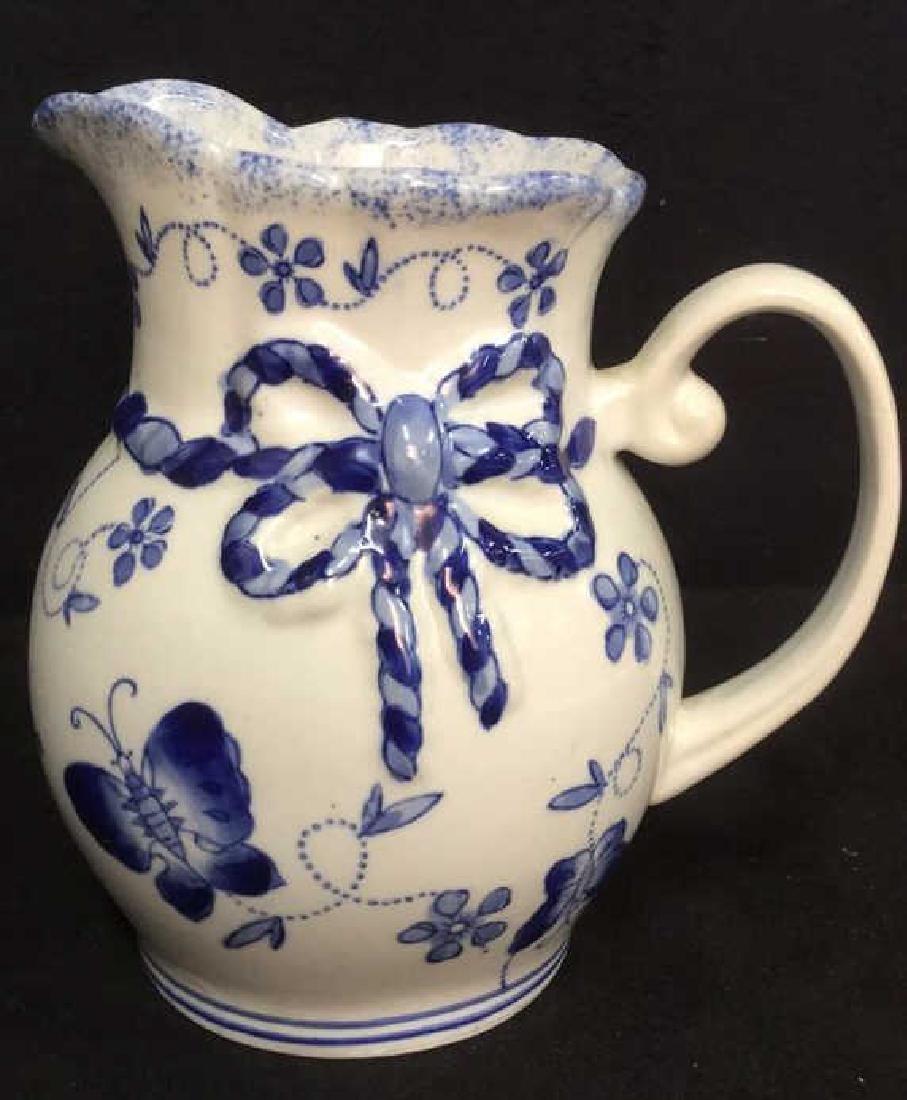 China Blue Ceramic Porcelain Pitcher - 3