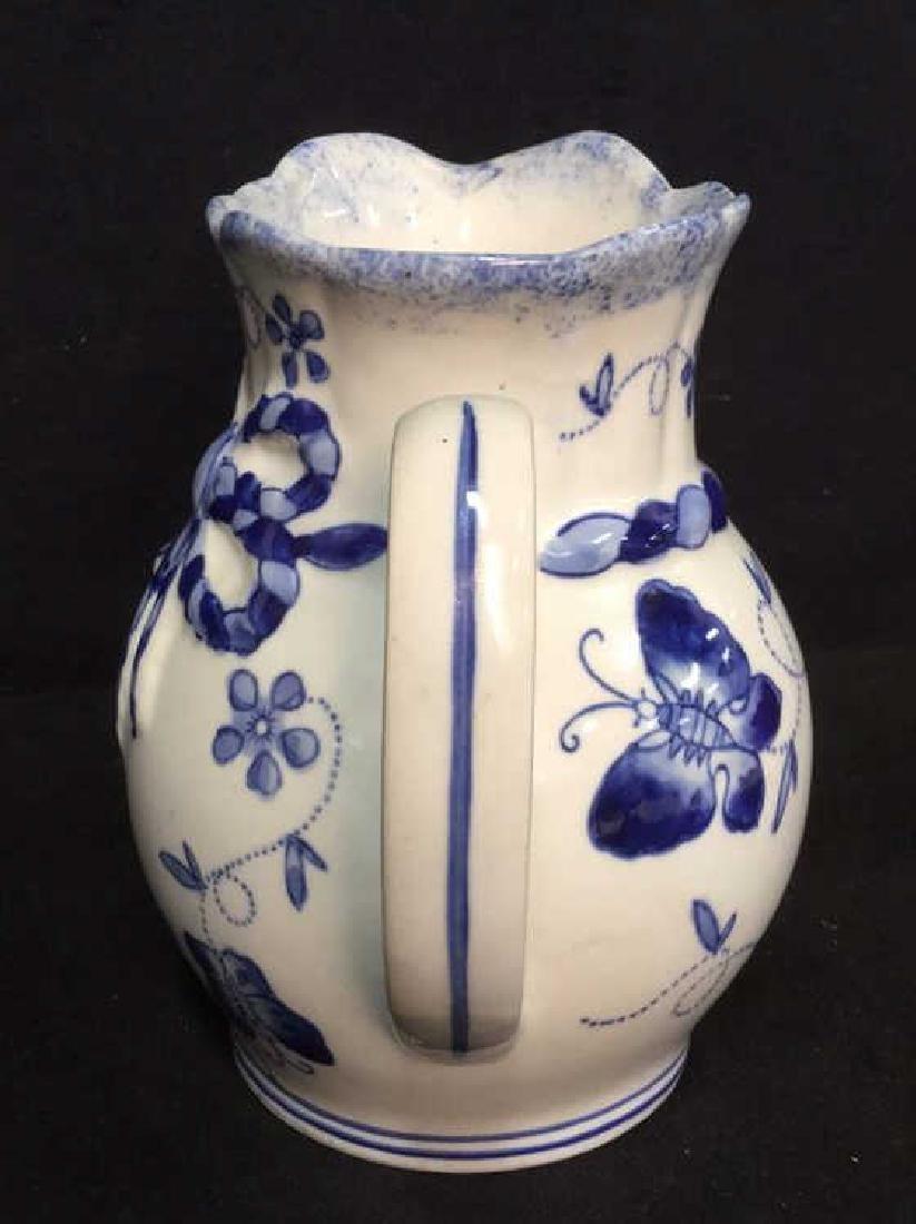 China Blue Ceramic Porcelain Pitcher - 4
