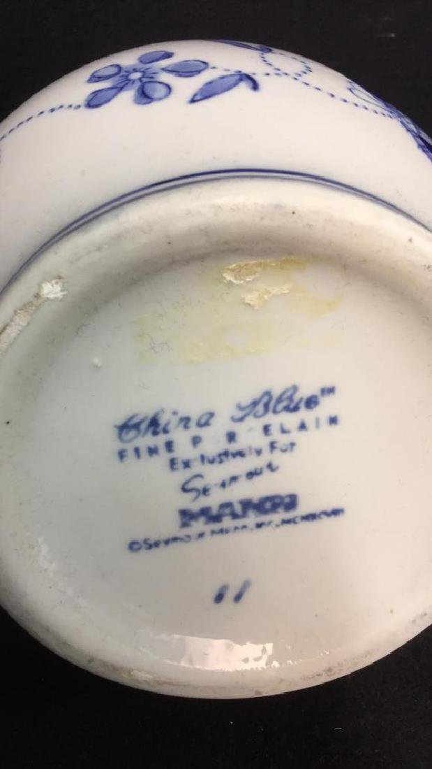 China Blue Ceramic Porcelain Pitcher - 5
