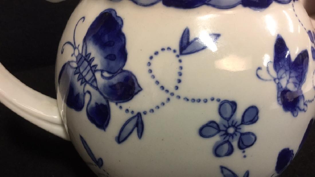 China Blue Ceramic Porcelain Pitcher - 6