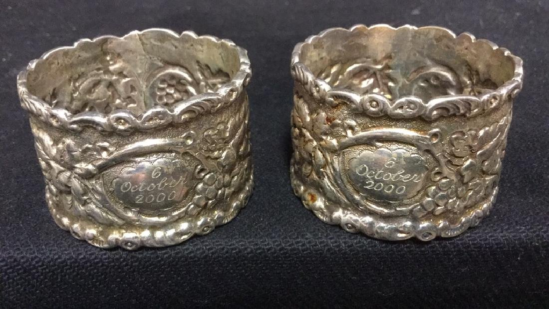 Lot 4 Sterling Silver Detailed Napkins Rings - 3