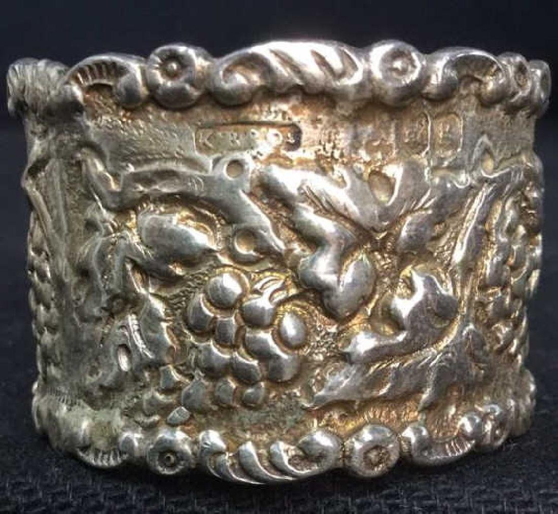 Lot 4 Sterling Silver Detailed Napkins Rings - 5