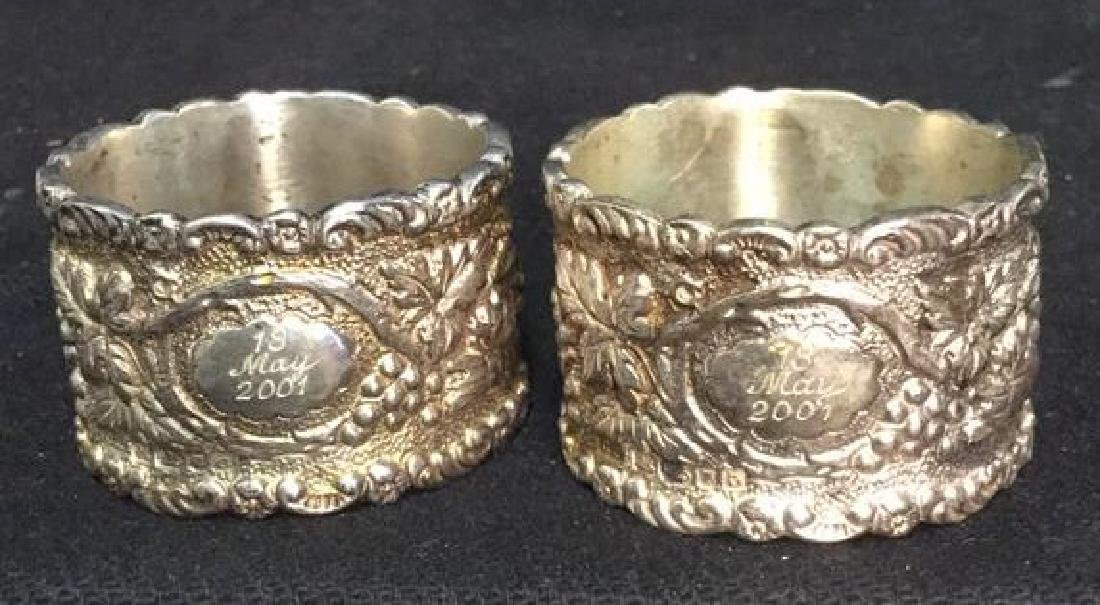 Lot 4 Sterling Silver Detailed Napkins Rings - 8