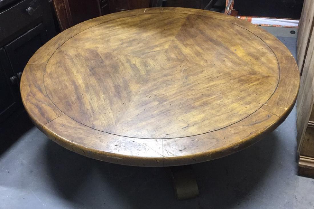 Rustic Circular Form Wood Coffee Table