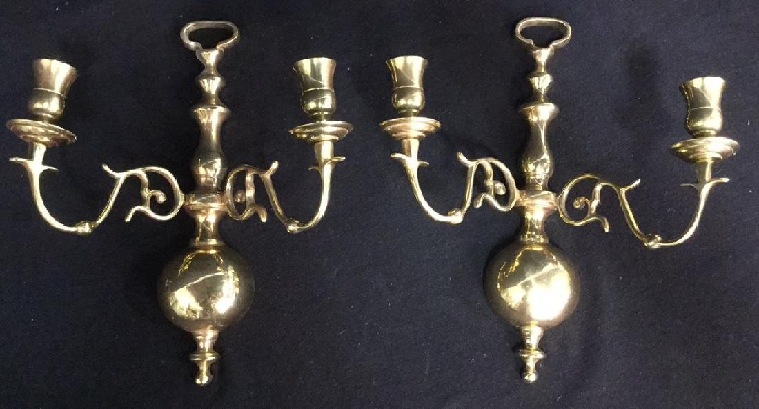 Pair Of 18th Century Style Brass Wall Sconces