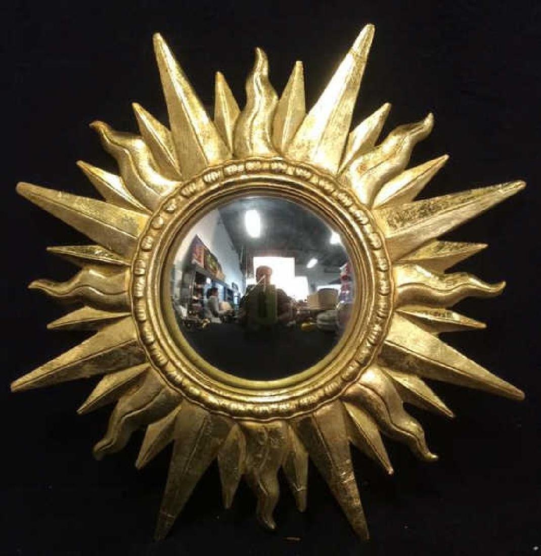 Gold Toned Sun Shaped Framed Mirror