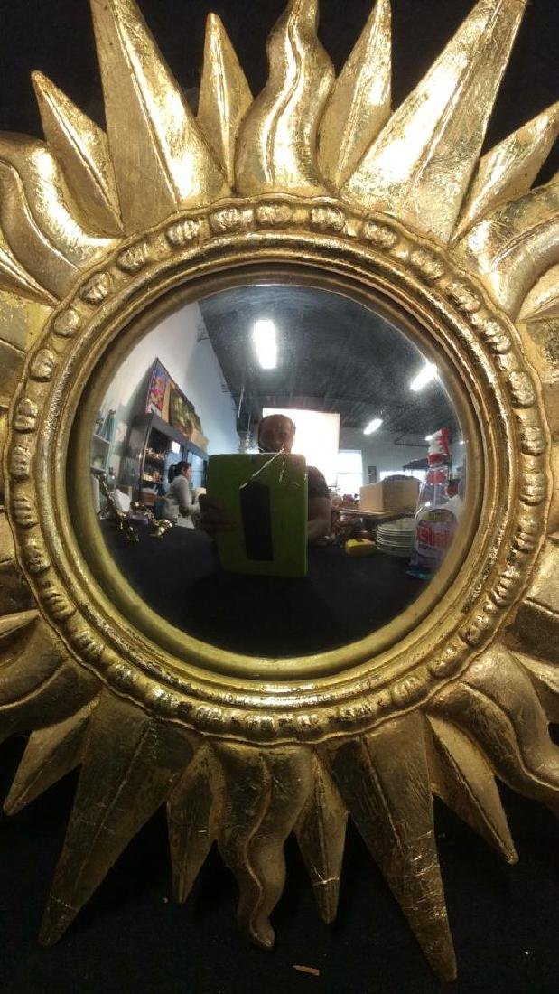 Gold Toned Sun Shaped Framed Mirror - 2