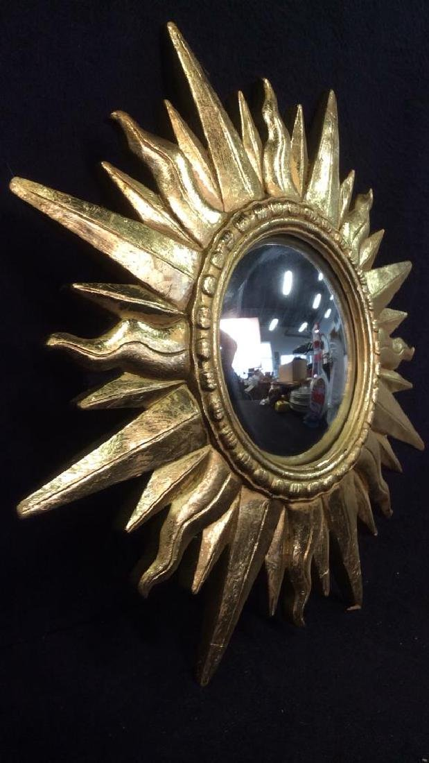 Gold Toned Sun Shaped Framed Mirror - 3