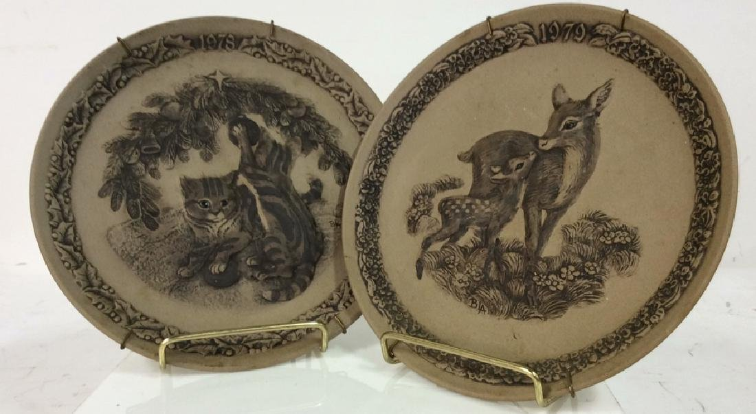 Pair POOLE Collectible Animal Featured Plates
