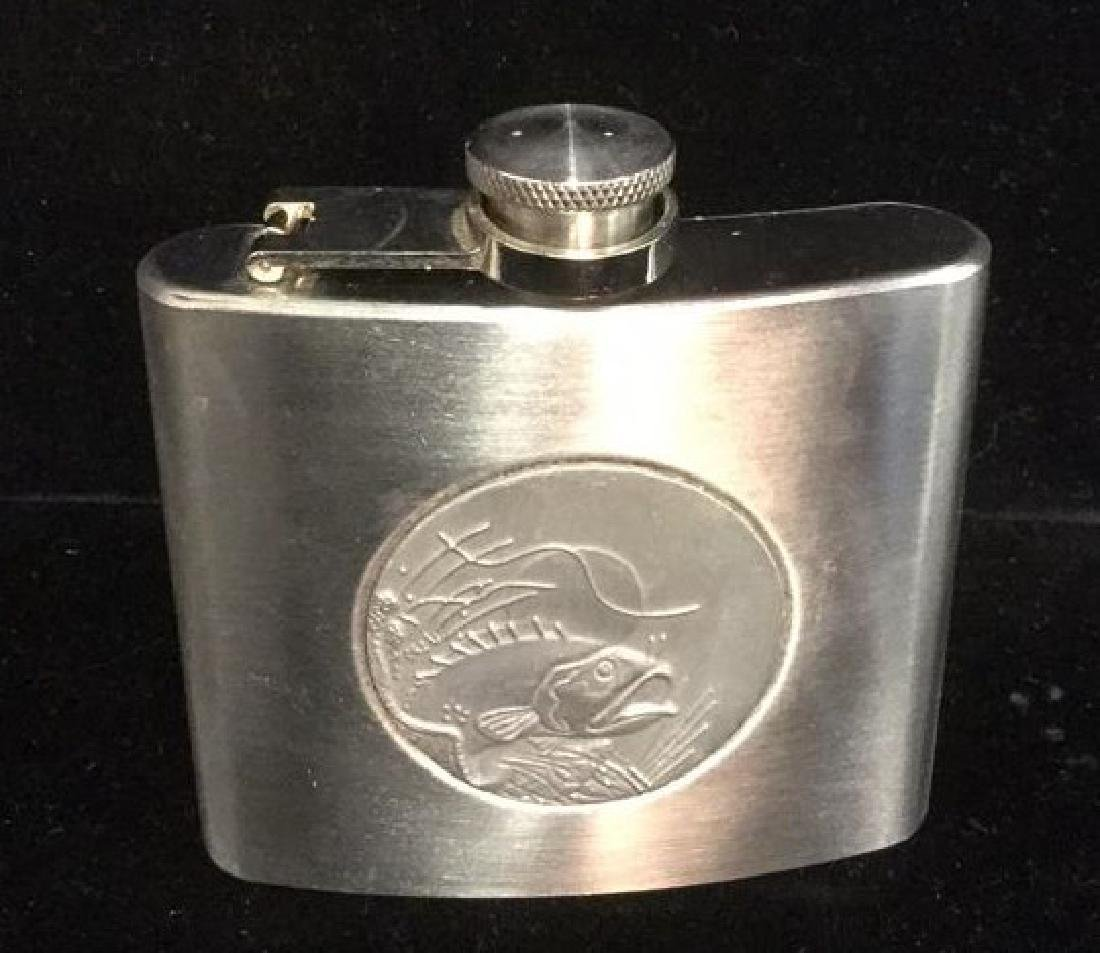 Stainless Steel Hip Flask With Bass Fish Plaque