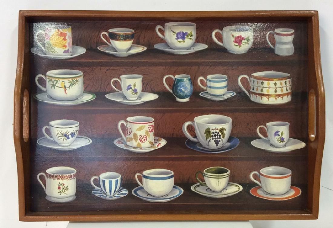 Wooden Tea Tray W Teacup Design