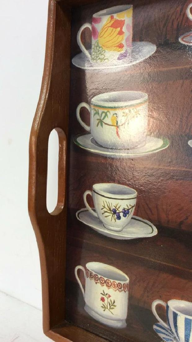 Wooden Tea Tray W Teacup Design - 4