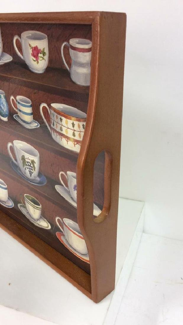 Wooden Tea Tray W Teacup Design - 5