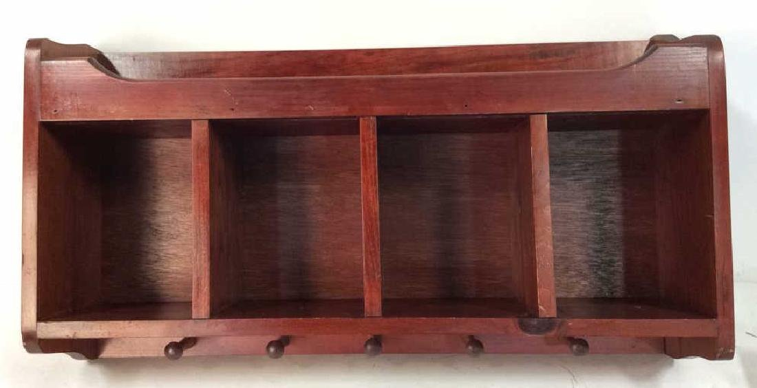 Reddish Toned Wooden Storage Wall Cubby