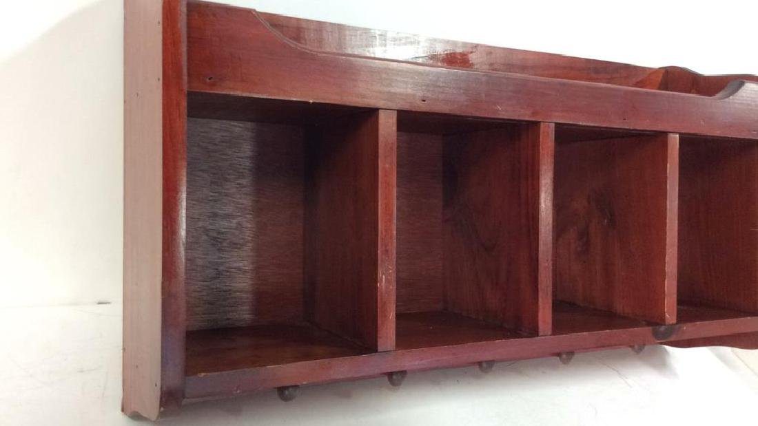 Reddish Toned Wooden Storage Wall Cubby - 3