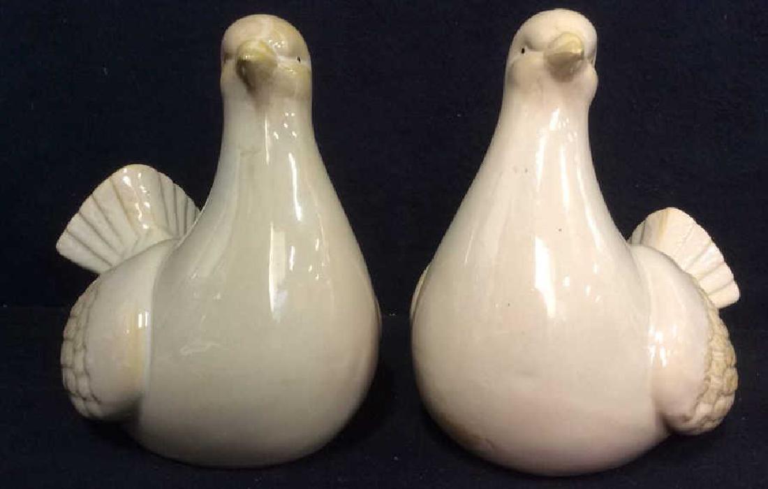 Lot 2 Pink Toned Ceramic Porcelain Bird Figures