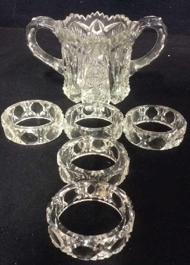 Lot 6 Cut Crystal Napkin Rings & More