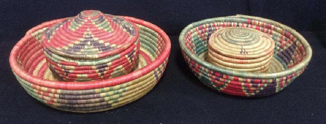 Lot 4 Colorful Woven Straw BasketsCrafts - 10