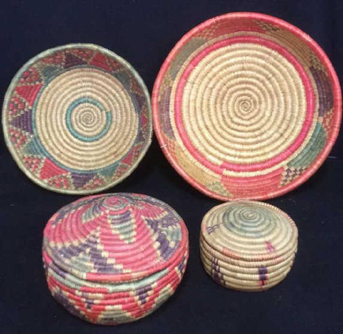 Lot 4 Colorful Woven Straw BasketsCrafts