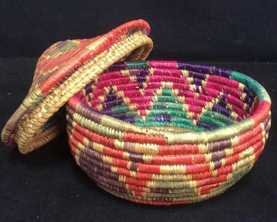 Lot 4 Colorful Woven Straw BasketsCrafts - 2