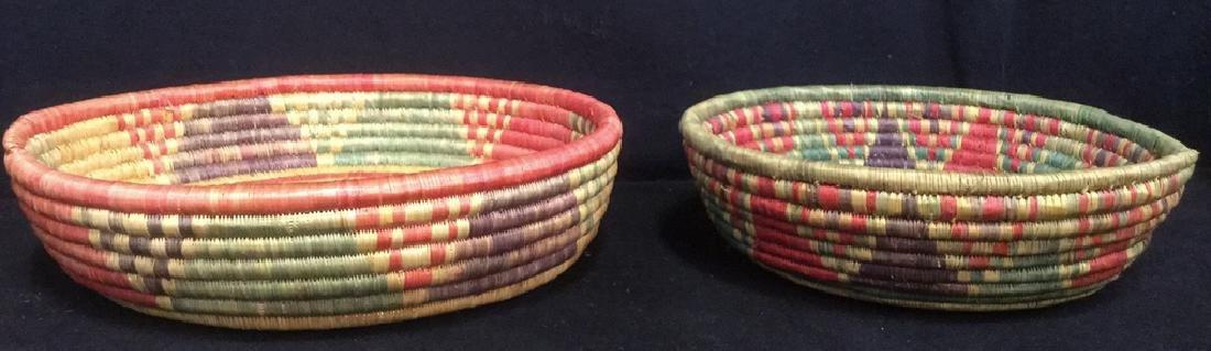 Lot 4 Colorful Woven Straw BasketsCrafts - 7