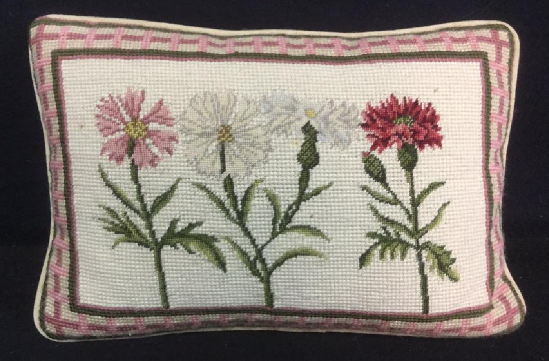 Needlepoint Floral Pillow With Velvet Reverse