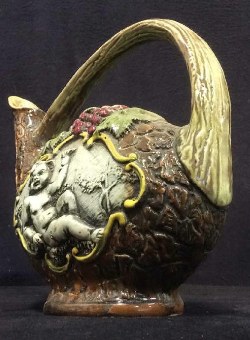Hand Painted Italian Ceramic Wine Jug - 3