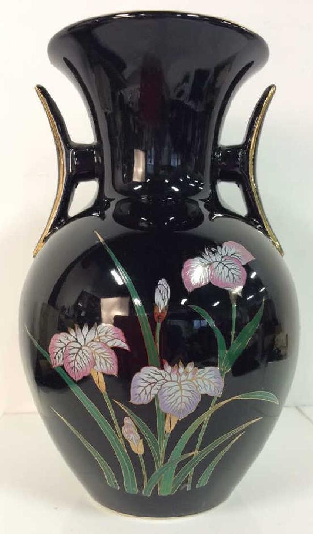 Black Handled Vase W Floral Design
