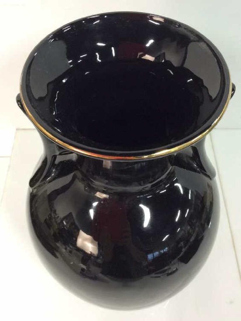 Black Handled Vase W Floral Design - 7