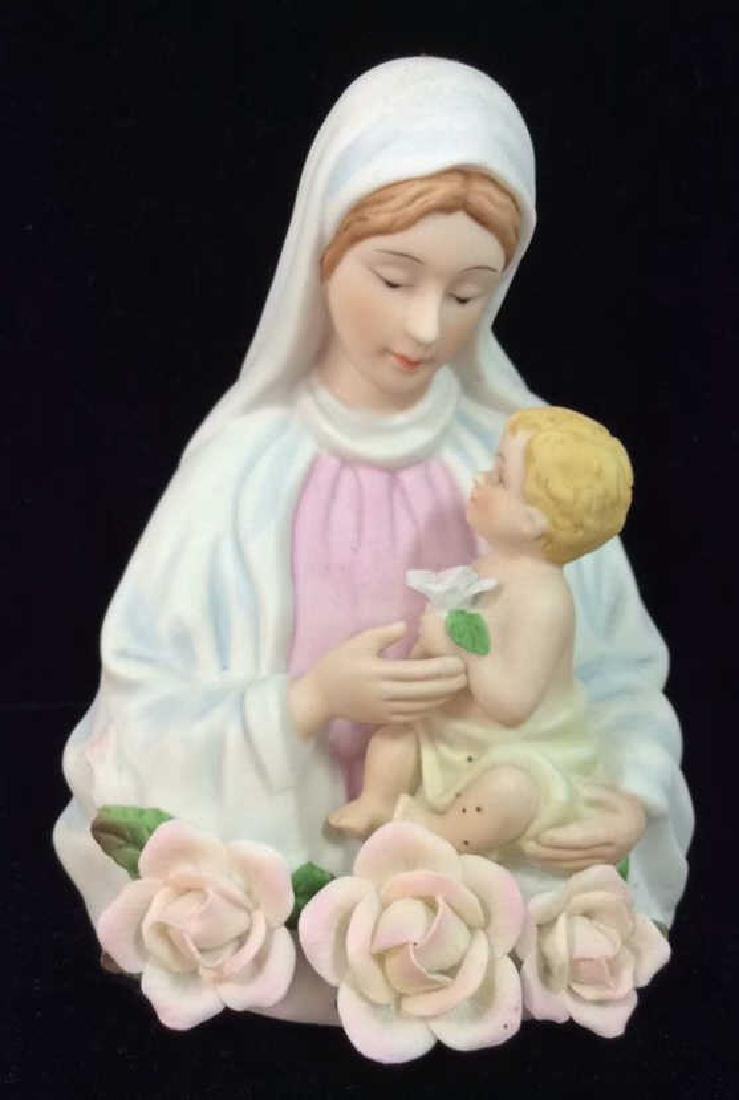 Sculpted Porcelain Virgin Mary w Baby Jesus Light