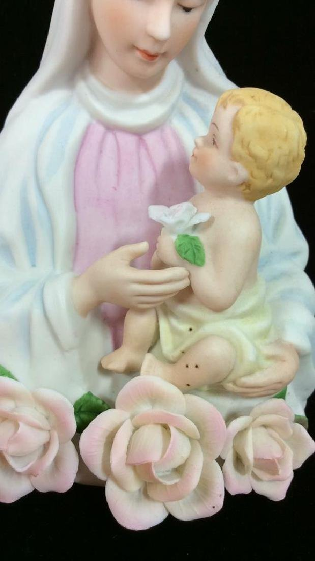Sculpted Porcelain Virgin Mary w Baby Jesus Light - 2