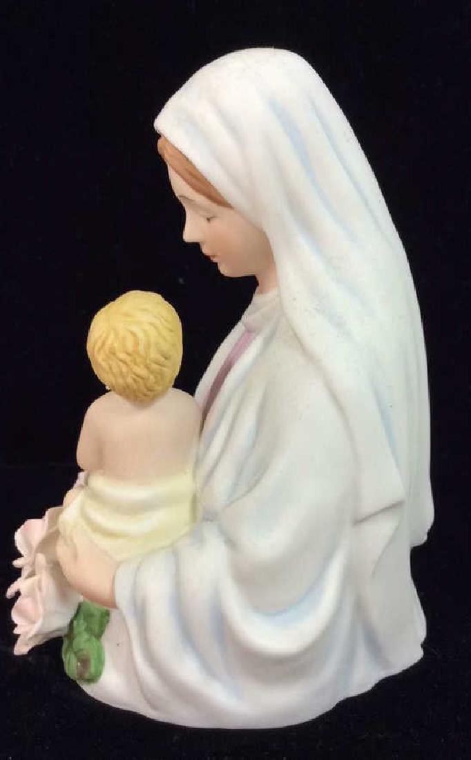 Sculpted Porcelain Virgin Mary w Baby Jesus Light - 6