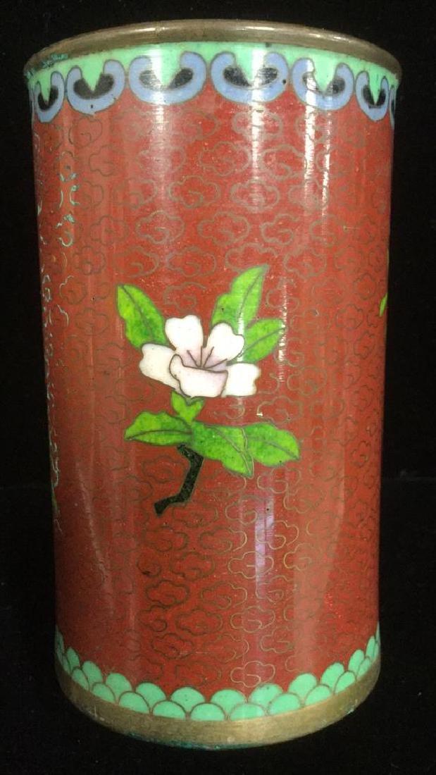 Lot 2 Asian Cloisonne Enamel Vases - 10