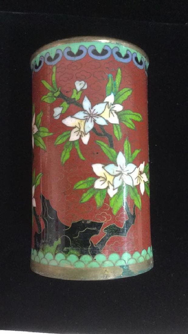 Lot 2 Asian Cloisonne Enamel Vases - 2