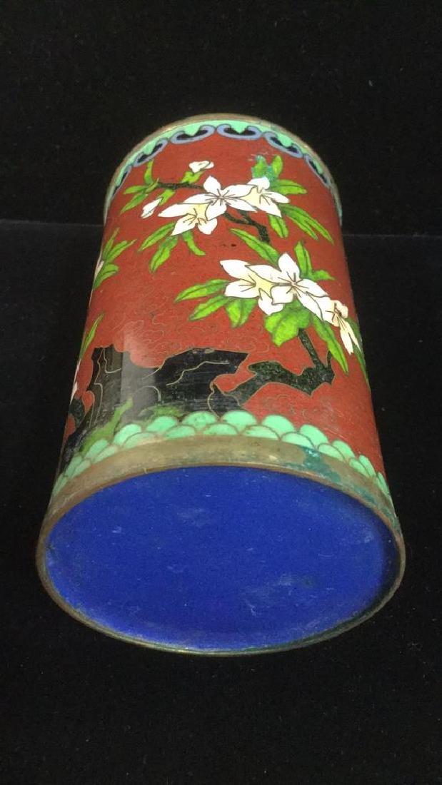 Lot 2 Asian Cloisonne Enamel Vases - 3