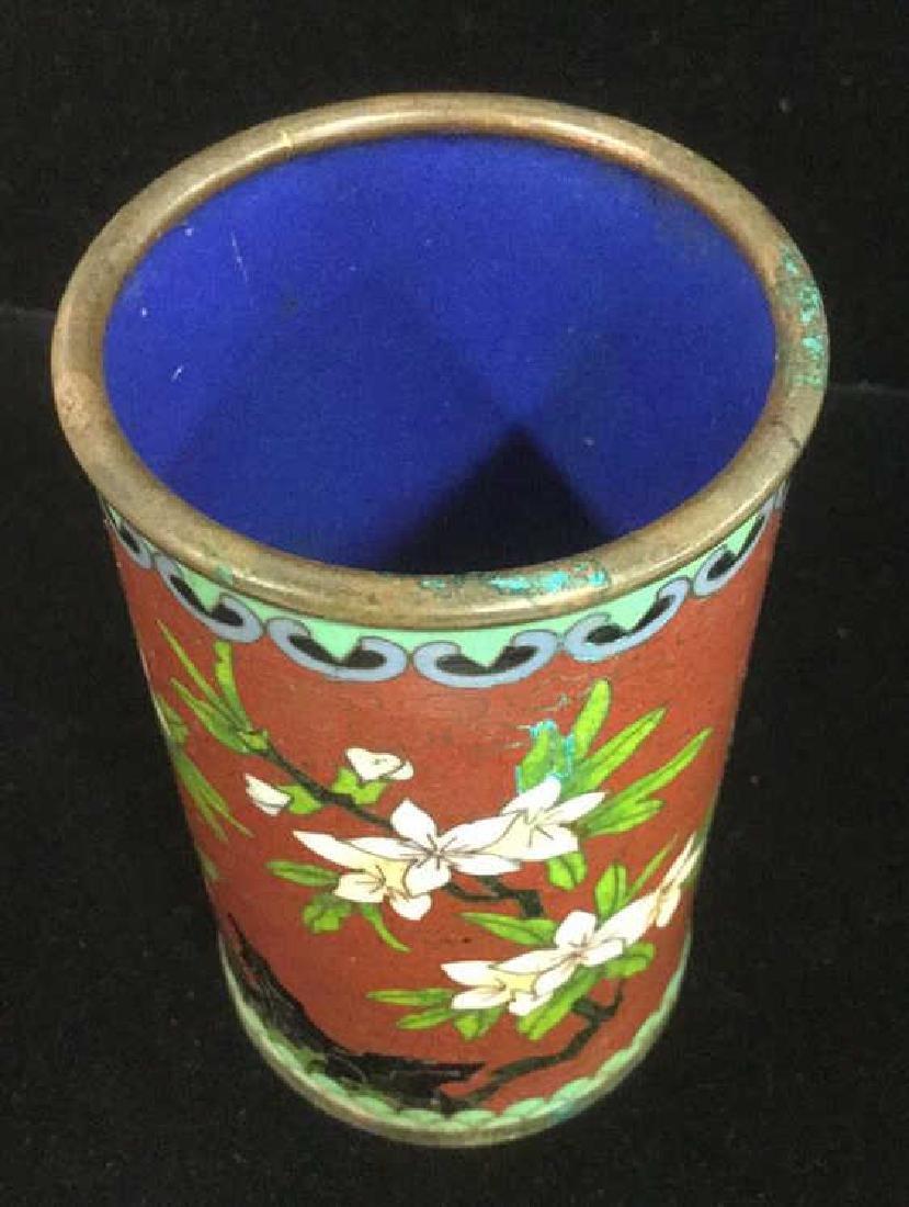 Lot 2 Asian Cloisonne Enamel Vases - 4