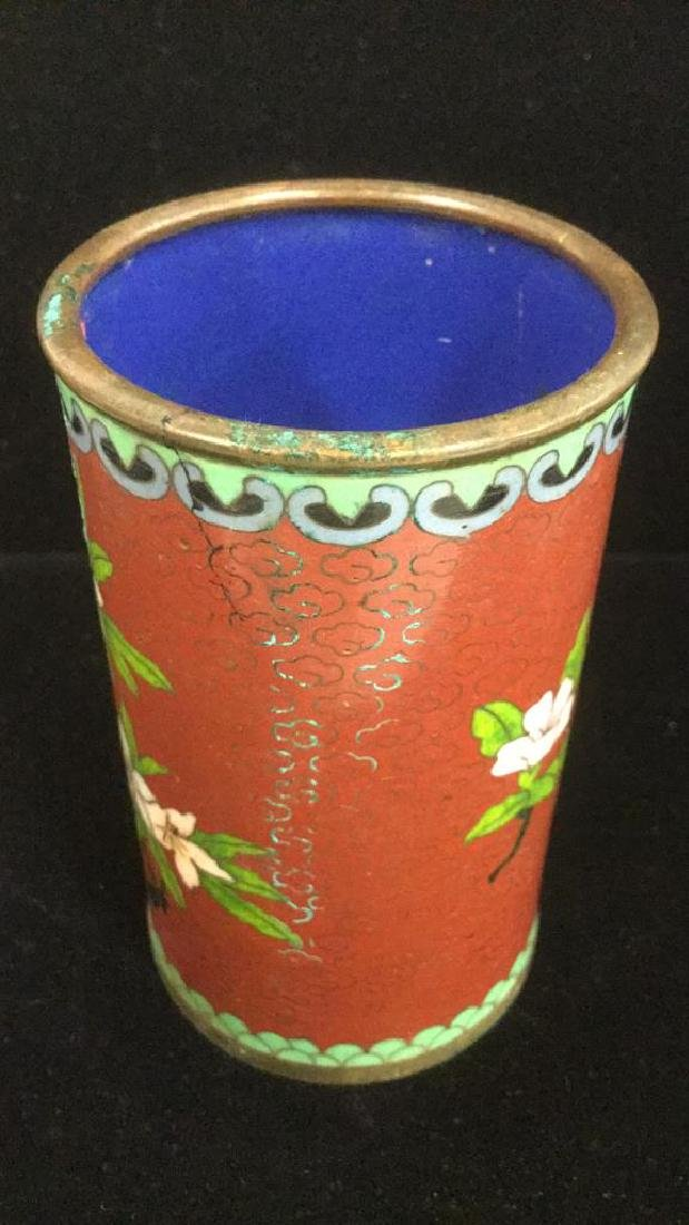 Lot 2 Asian Cloisonne Enamel Vases - 5