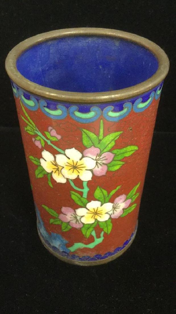 Lot 2 Asian Cloisonne Enamel Vases - 6
