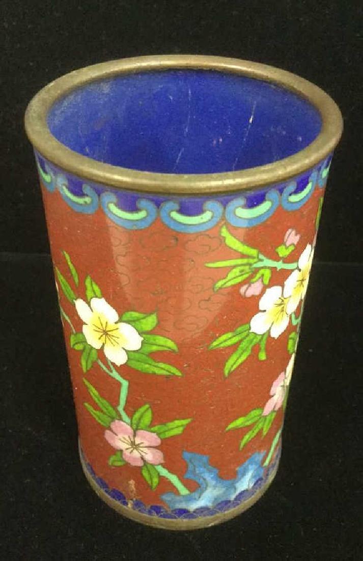 Lot 2 Asian Cloisonne Enamel Vases - 7