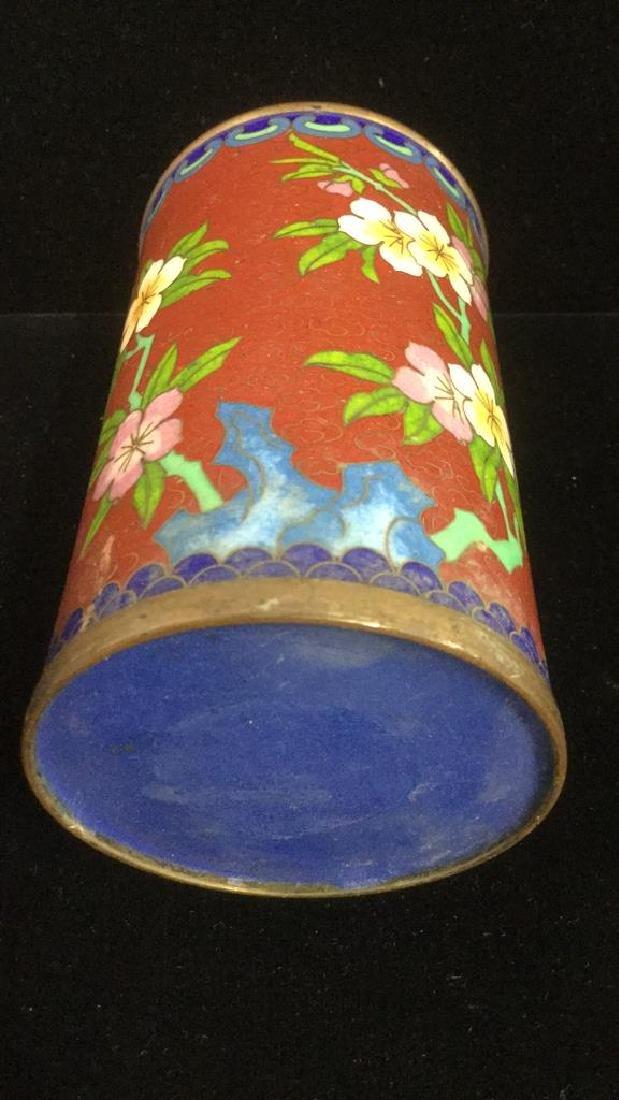 Lot 2 Asian Cloisonne Enamel Vases - 8