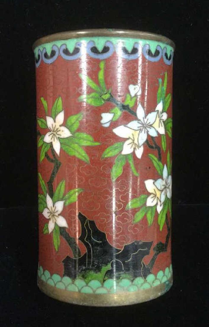 Lot 2 Asian Cloisonne Enamel Vases - 9
