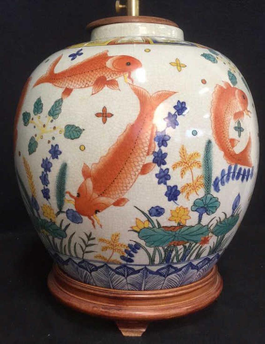Handpainted Ceramic Porcelain Asian Table Lamp
