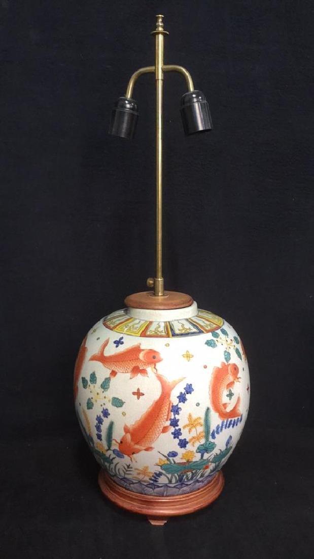 Handpainted Ceramic Porcelain Asian Table Lamp - 2