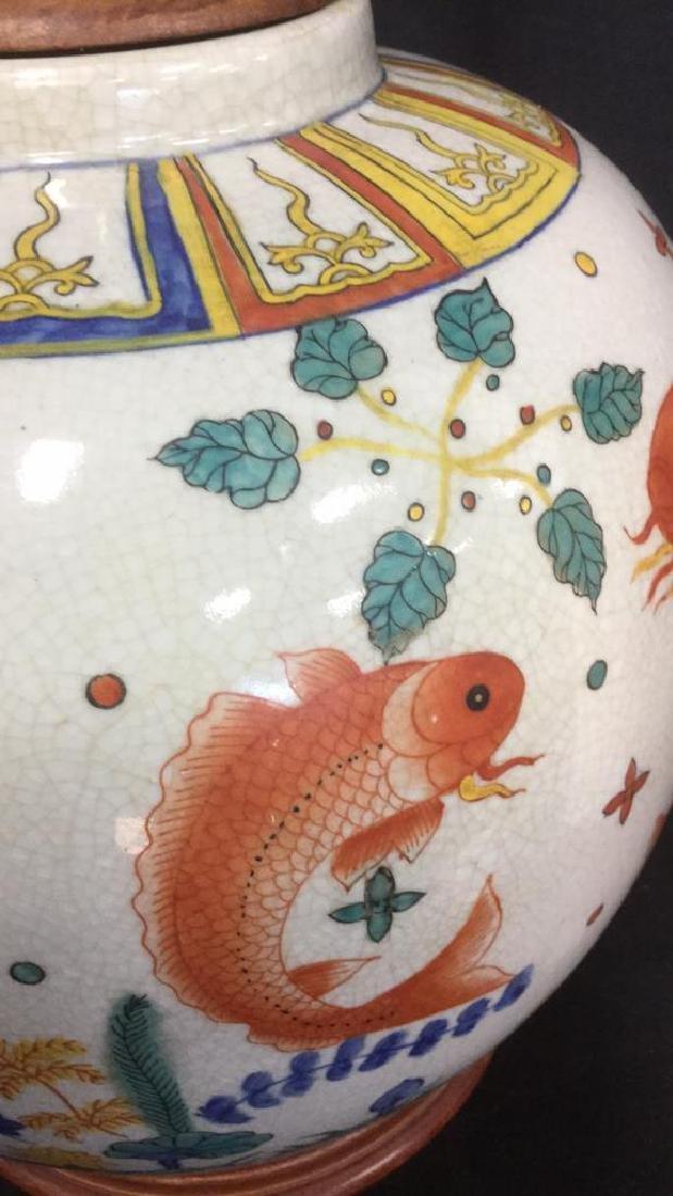 Handpainted Ceramic Porcelain Asian Table Lamp - 3
