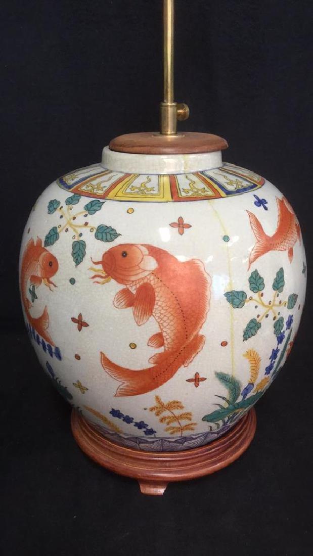 Handpainted Ceramic Porcelain Asian Table Lamp - 4