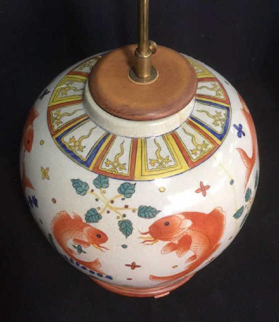 Handpainted Ceramic Porcelain Asian Table Lamp - 6
