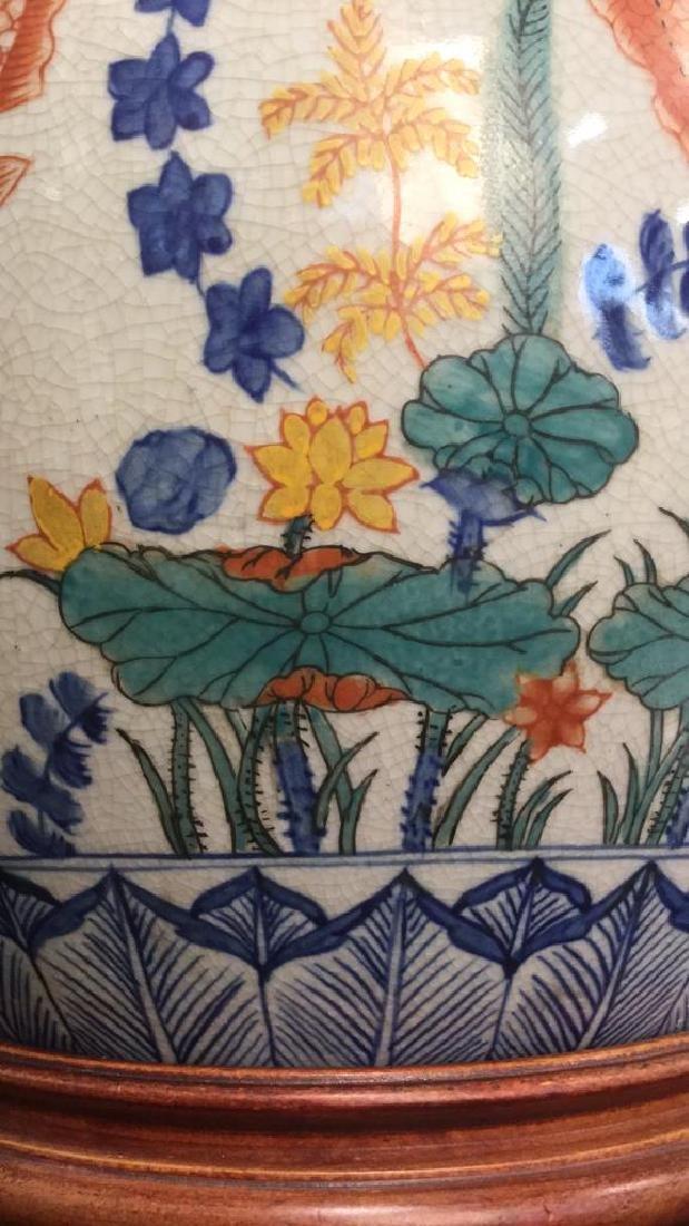 Handpainted Ceramic Porcelain Asian Table Lamp - 9