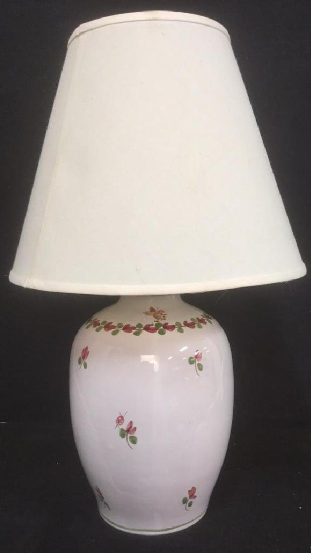 Signed Painted Ceramic Lamp W Floral Detail